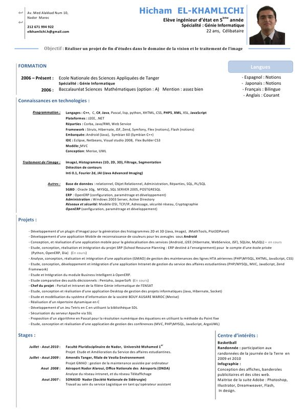 Exemple D Un Cv Marocain Pdf Advertising Server Activities