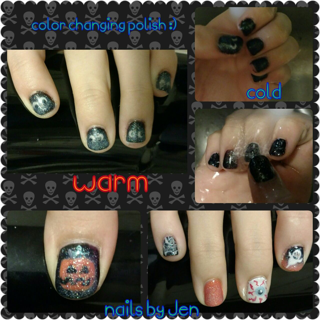 Halloween color changing nail art | Color changing nails ...