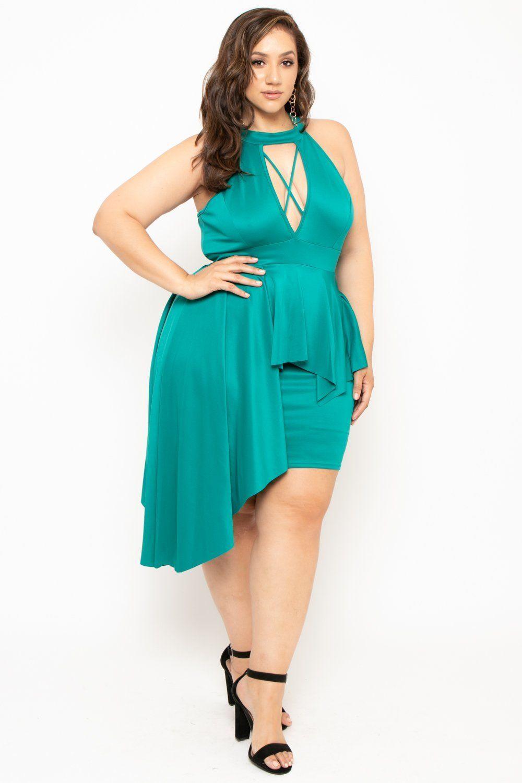 f89993ab74d Plus Size Keyhole Peplum Dress - Teal – Curvy Sense  curvymodel ...