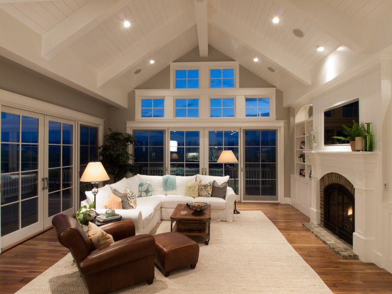 windows in vaulted ceilings | ... architecture shows in this spacious  family room with