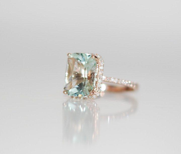 Etsy Aquamarine Ring 14k Rose Gold Ring 3ct Seafoam Green Blue