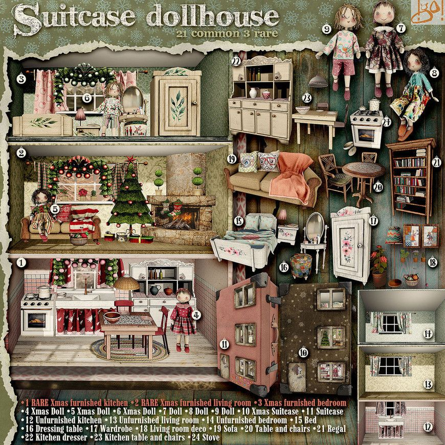 Secondlife Christmas Gacha 2020 gO! Suitcase Dollhouse   Gacha Key   亗 Second Life Home & Decor