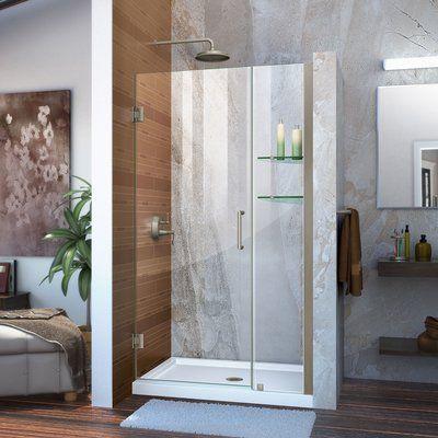 Dreamline Unidoor 36 W X 72 H Hinged Frameless Shower Door With