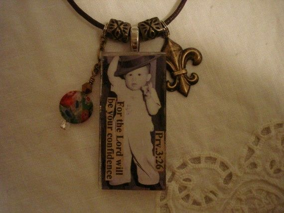 Lord is ConfidenceGlass Collage Pendant Necklace by LindasCharms, $18.00