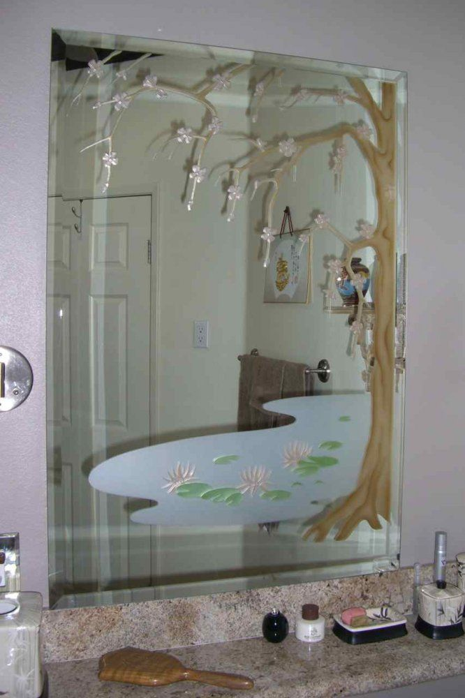 Cherry Blossom Tree Decorative Mirrors For Bathrooms With Etched Glass Designs By Sans Soucie