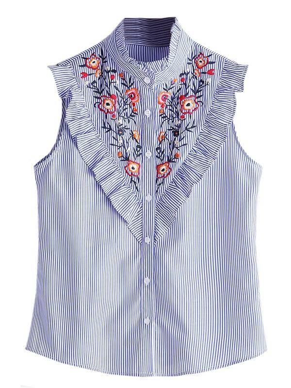 Blusa Listrada com Bordado e Babados - Ref.1139 - comprar online ... bc9d1de33d7