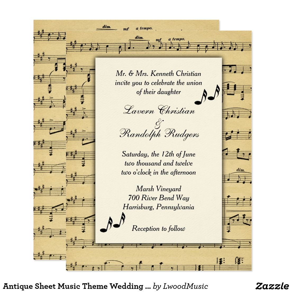 Antique Sheet Music Theme Wedding Invitation | Pinterest | Music ...