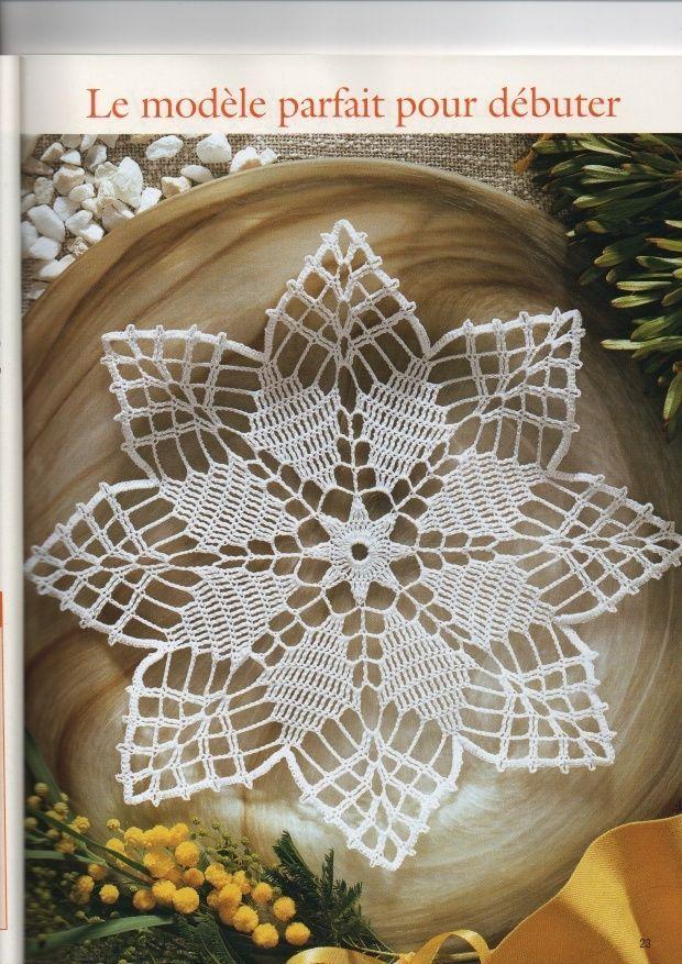 2 Napperons au crochet motifs étoile | Nappe crochet, Modèles de napperon en crochet et Nappron ...