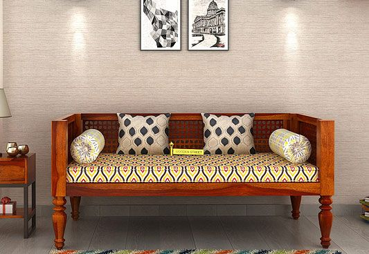 Shop Online Angelica Divan With Honey Finish The Divan Sofa Compliments Amazingly To The Traditional Interi Wooden Sofa Set Designs Wooden Sofa Set Home Decor