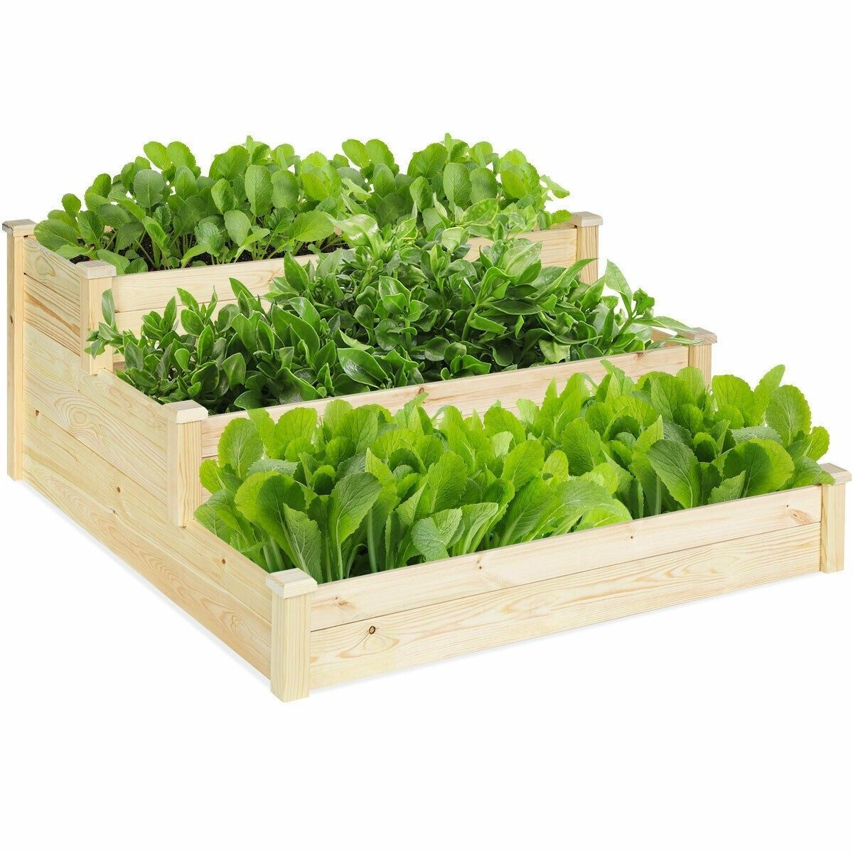 3 Tier Wooden Raised Garden Flower Vegetables Bed Woodenflowerboxes Vegetable Garden Planning Vegetable Garden Raised Beds Wooden Raised Garden Bed