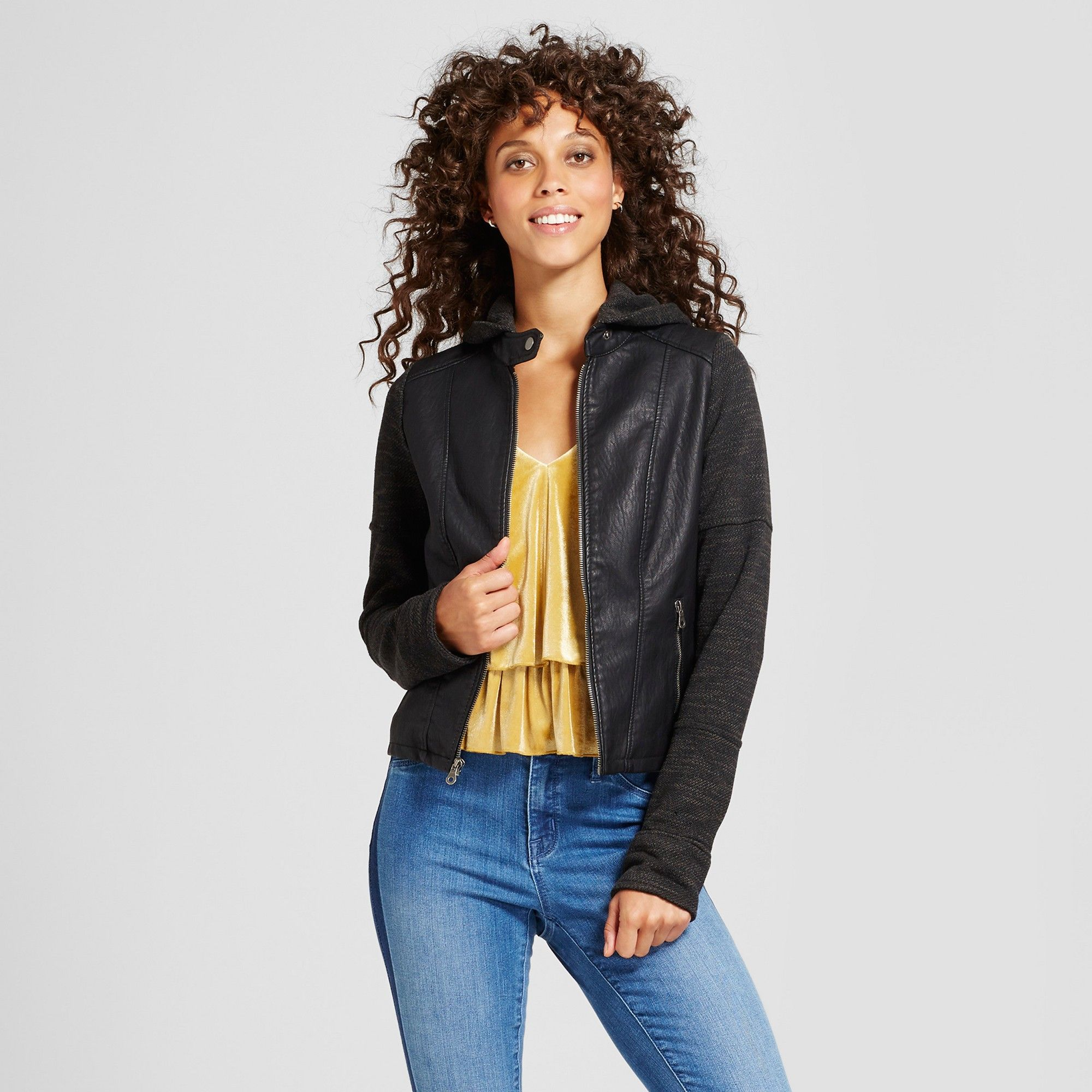 9f5f621355431 Women's Faux Leather Jacket with Sweater Hood - Xhilaration (Juniors') Black  S
