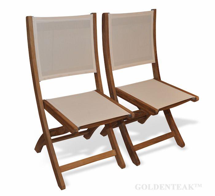 Teak Folding Providence Chair No Arms Batyline Sling Fabric