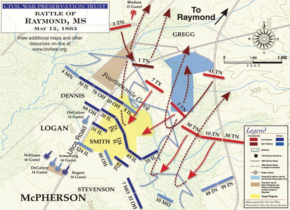 Civil War Battle Maps | The Battle of Raymond | Civil War | Civil ...