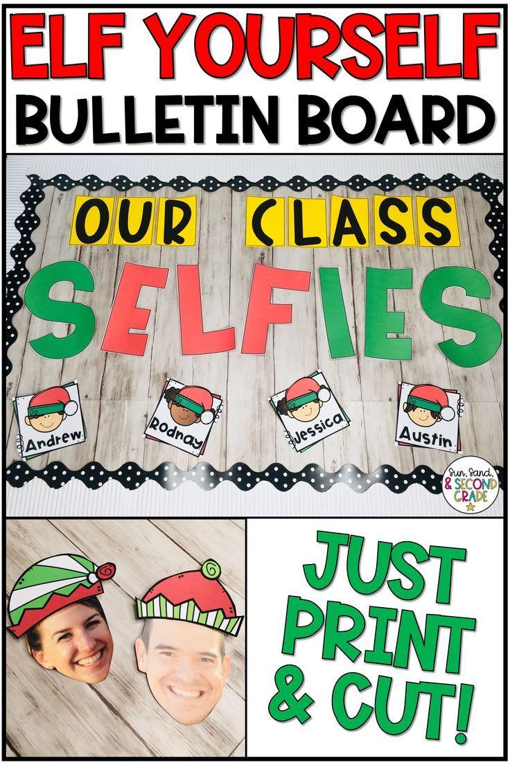 Elf Yourself Christmas Bulletin Board or Door Decoration #decemberbulletinboards