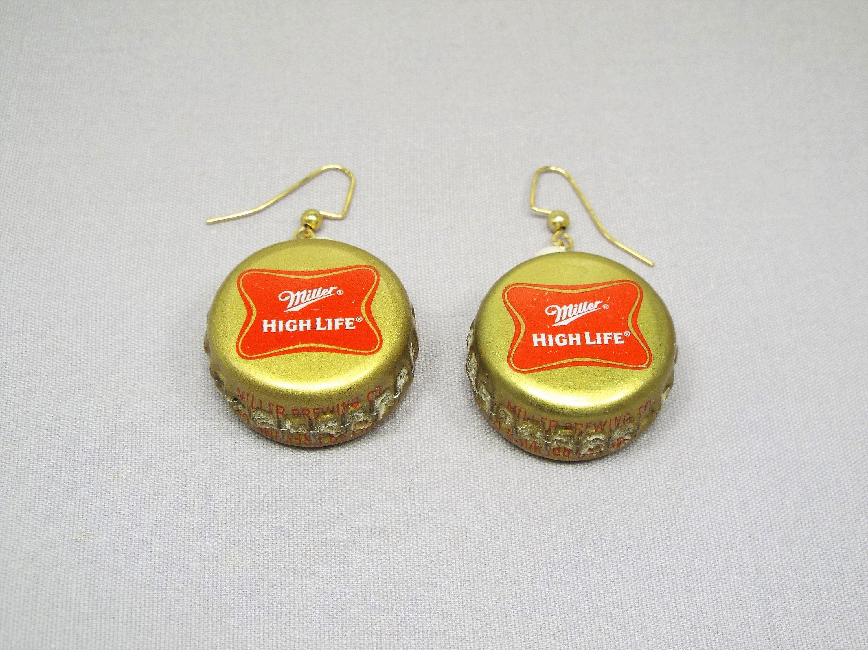 Handmade Beer Bottle Cap Earrings Bottle Cap Earrings Beer Jewelry Beer Bottle Cap