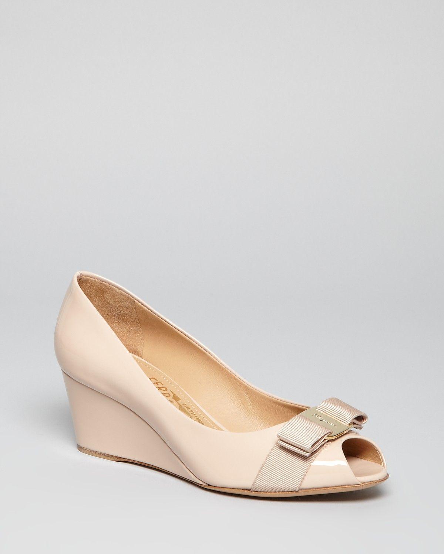 Salvatore Ferragamo Peep Toe Wedge Logo Pumps - Sissi Mid Heel |  Bloomingdale's