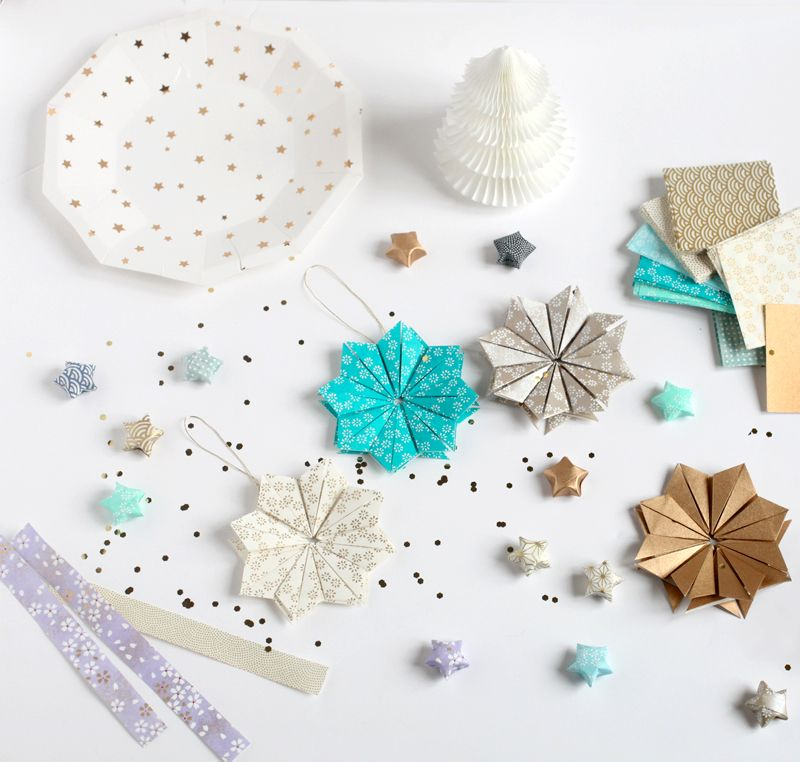 sur le blog d 39 adeline klam le do it yourself de no l toiles origami en papier japonais. Black Bedroom Furniture Sets. Home Design Ideas