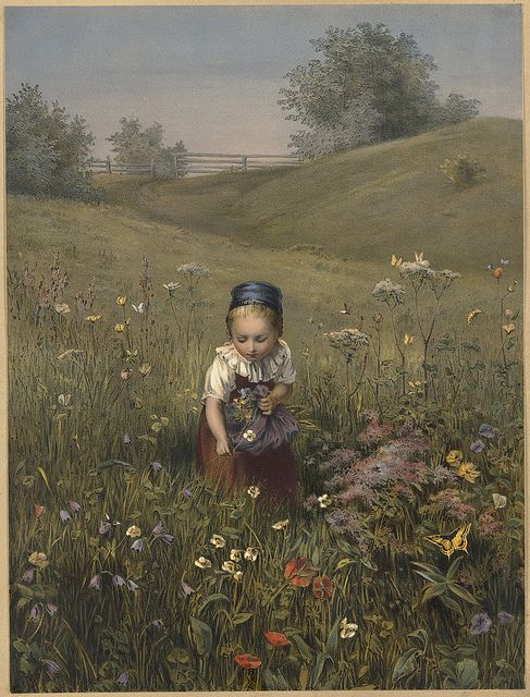 Spring Flowers by Ludwig Knaus,  1829-1910