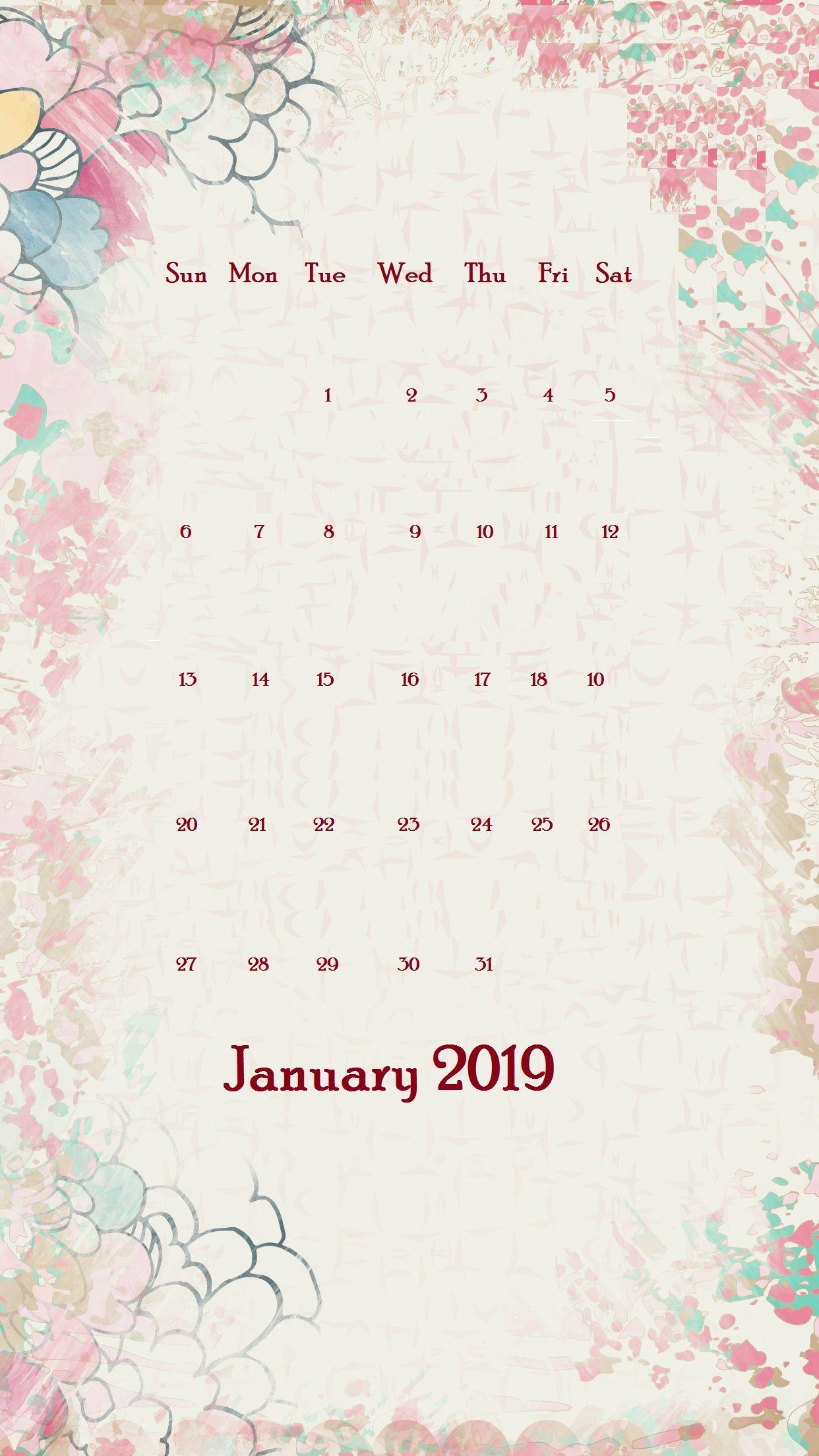 January 2019 iPhone calendar Wallpaper January wallpaper