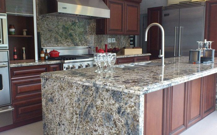 Blue Flower Granite Kitchen
