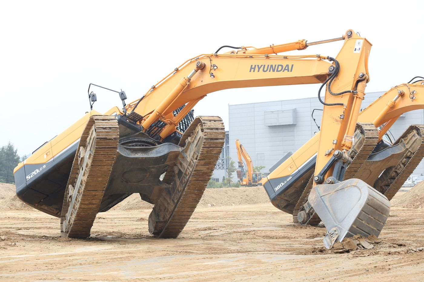 at a product demo in south korea hyundai construction equipment