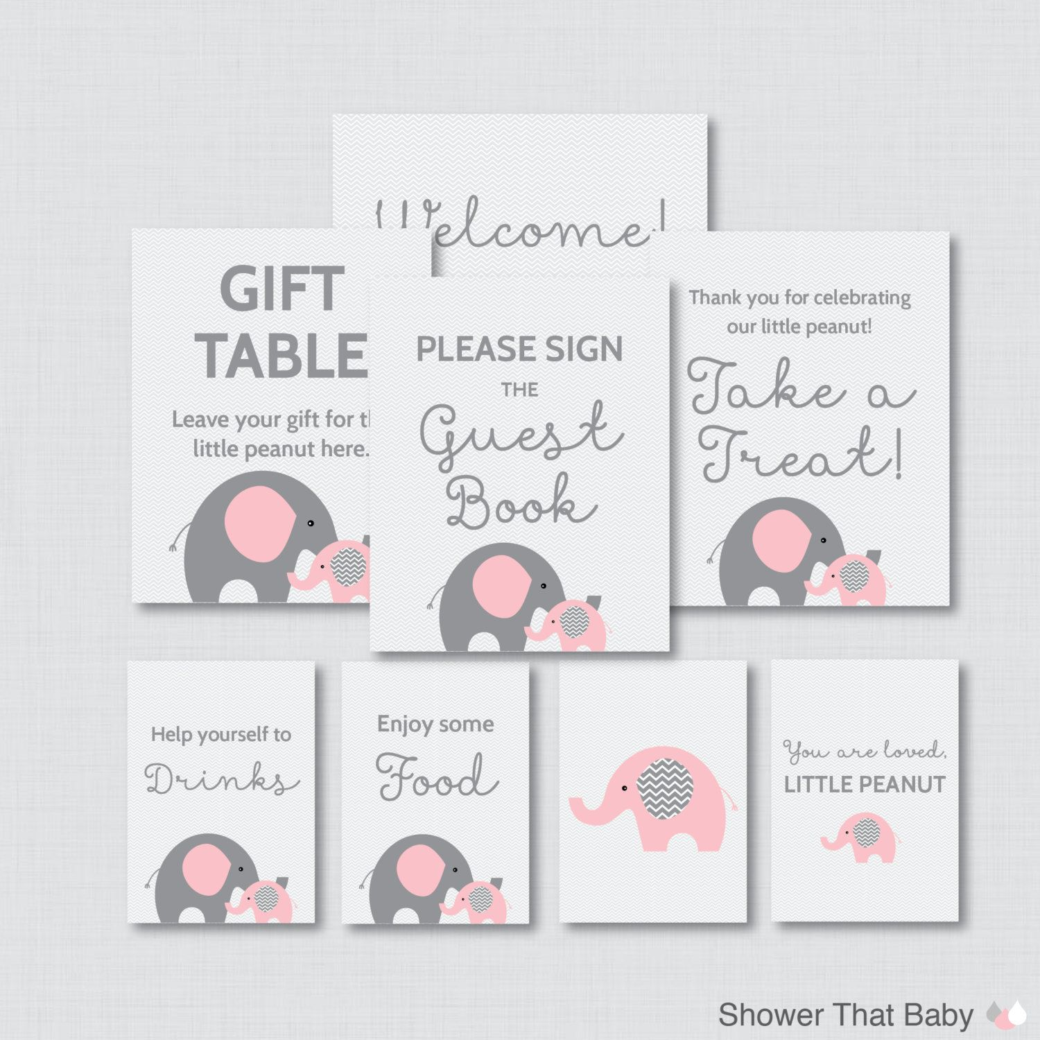 printable elephant baby shower table signs eight signs welcome