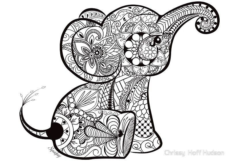 A Doodle I Did Of A Baby Elephant In Adobe Illustrator Black And