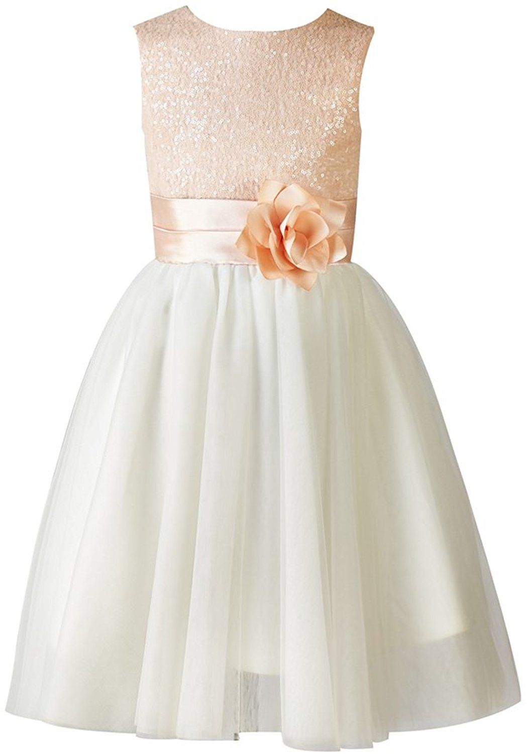 7b98f8abaa3 Amazon.com  Thstylee Girl s Sequin Tulle Flower Girl Dress Junior  Bridesmaid Dress 12T Blush Pink  Clothing