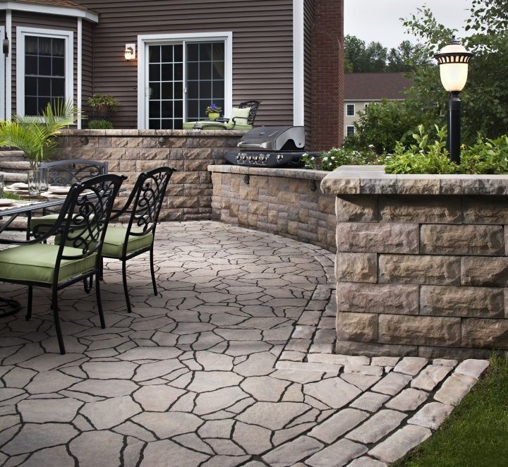 New Home Deals With A Difficult Slope By Having A New Raised Patio  Installed. Belgard Weston Wall WWW.HawkinsLA.com | New Home Landscaping  Ideas | Pinterest ...