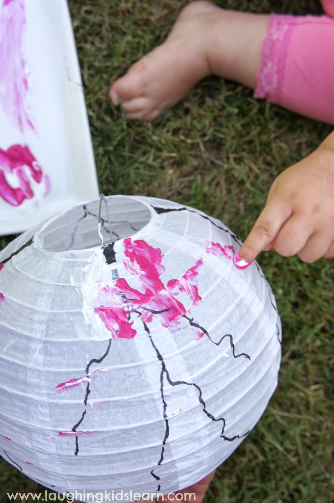 Gorgeous Toddler Decorated Lanterns #craft Inspired By Cherry Blossom Trees