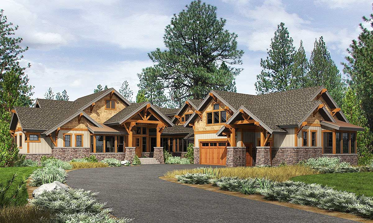 Plan 23610jd High End Mountain House Plan With Bunkroom Craftsman House Plans Mountain House Plans Craftsman House
