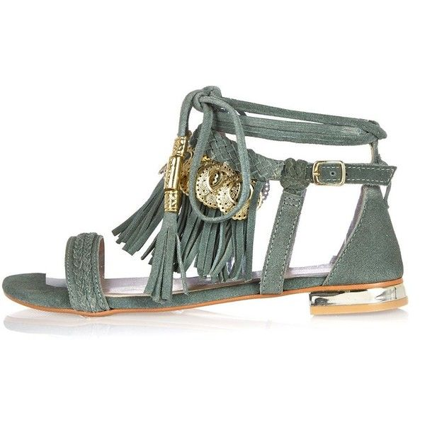 eec20c9fb5b River Island Green leather tassel coin sandals (€80) ❤ liked on Polyvore  featuring shoes