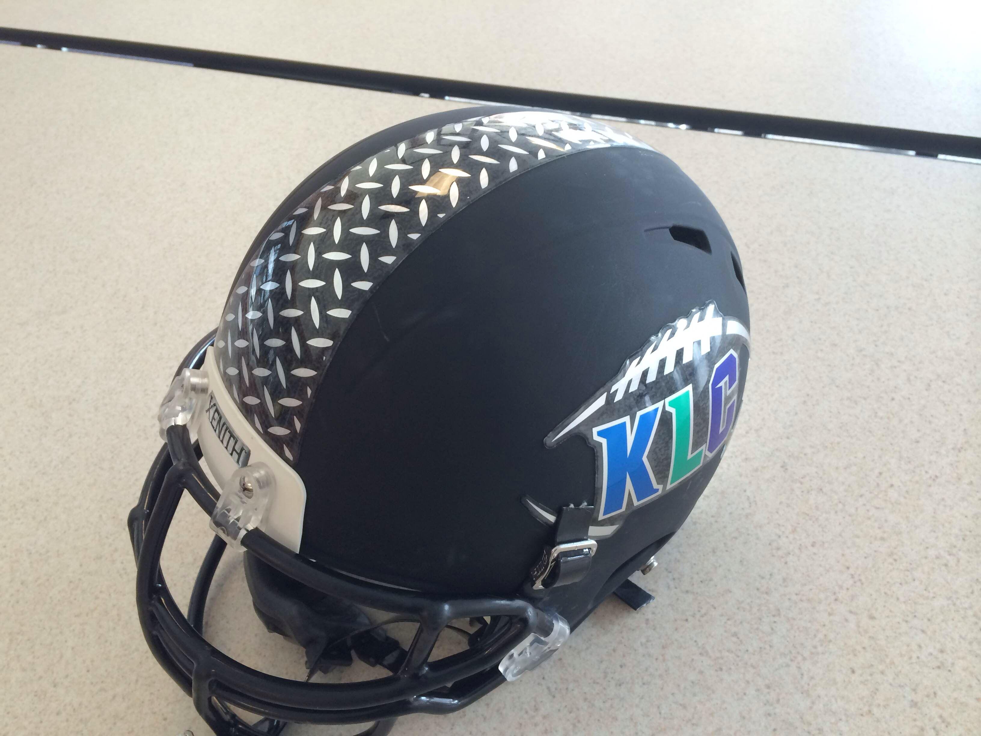 Chrome football helmet decals with diamond plated stripe