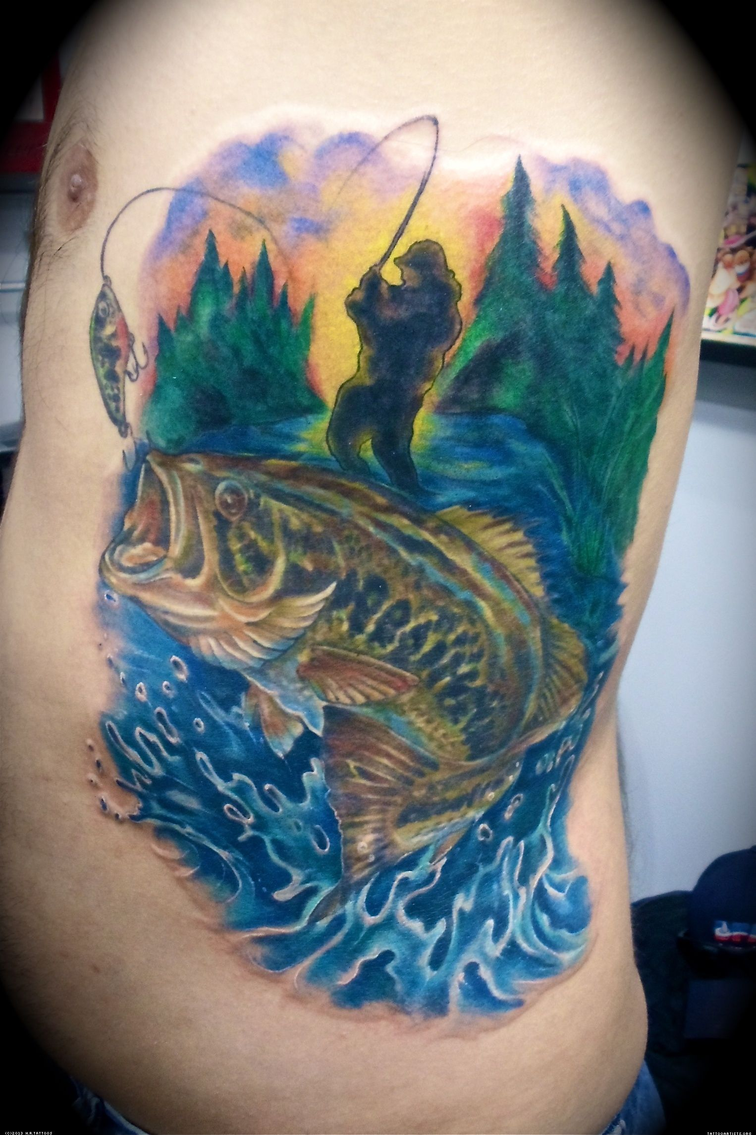 Fishing tattoos bass fish tattoo tattoos for Back mural tattoo designs