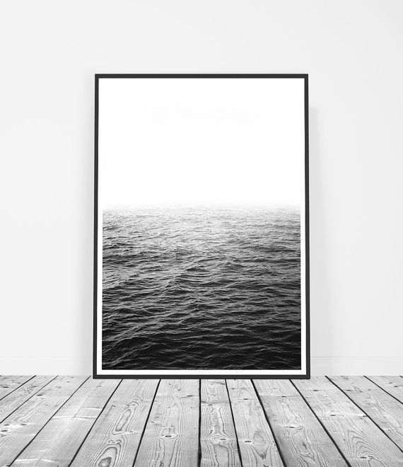 Black and white ocean photography art print