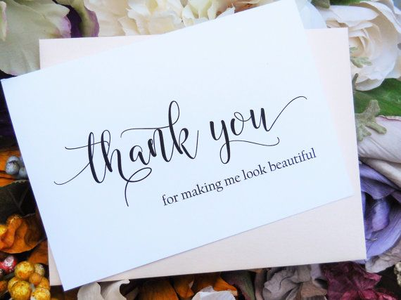 Thank You Gift from Bride Wedding Hairdresser Stylist or Makeup Artist Gift Card