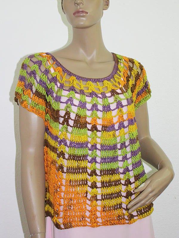 Top, Shirt oder Tunika gehäkelt Gr. 36 bis 54   Stricken und Häkeln ...