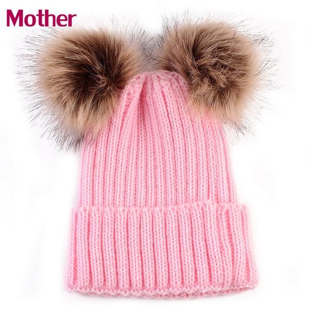 0d2d73a9f Mommy and Me Crochet Knitted Hat Caps Girl Boy Wool Fur Bobble Ball ...