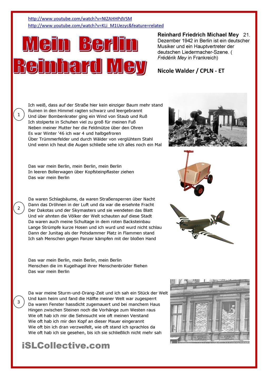 Mein Berlin Reinhard Mey Text Auf Deutsch Berlin Deutsch