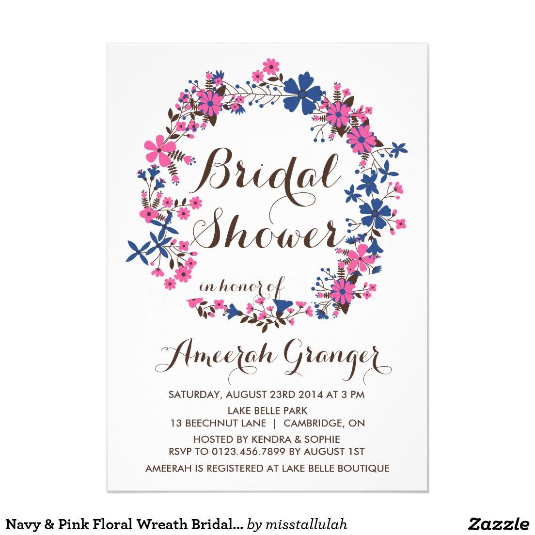 Navy & Pink Floral Wreath Bridal Shower Invitation