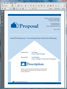 Real Estate Land Development Proposal The Sample Is An Example Of Use Kit Doents For A