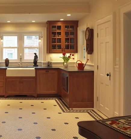 Natural Wood Kitchen With Bistro Style Hexagonal Tile Floor