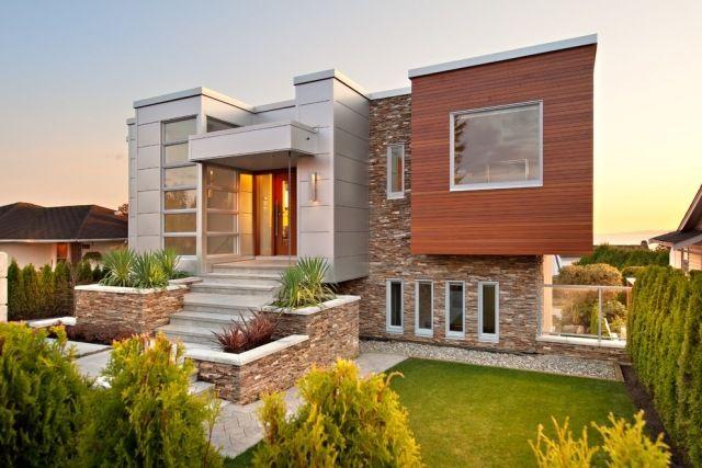 fassadengestaltung aus holz stein metall zusammen versch nerung des geb udes h user. Black Bedroom Furniture Sets. Home Design Ideas