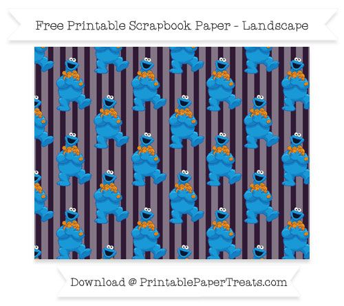 Free Landscape Dark Purple Striped Large Crazy Cookie Monster Pattern Paper