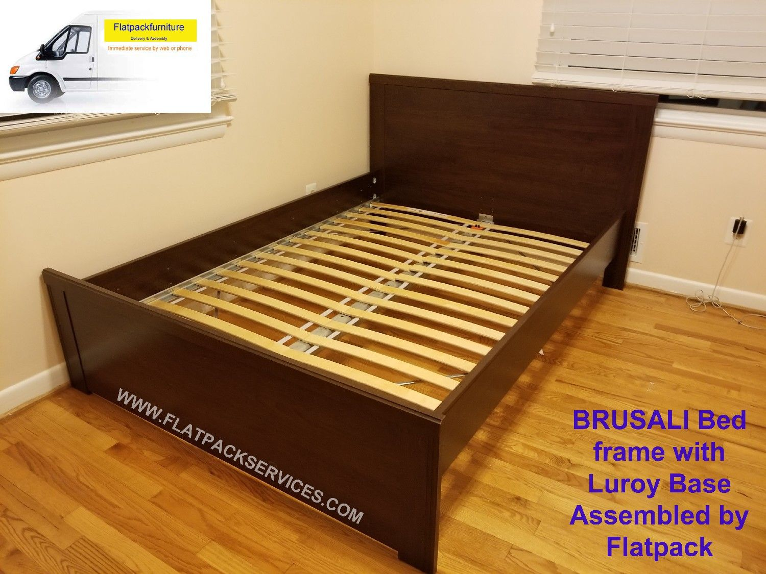 BRUSALI Bed Frame With 2 Storage Boxes Article Number: 092.226.95 IKEA  Assembly In