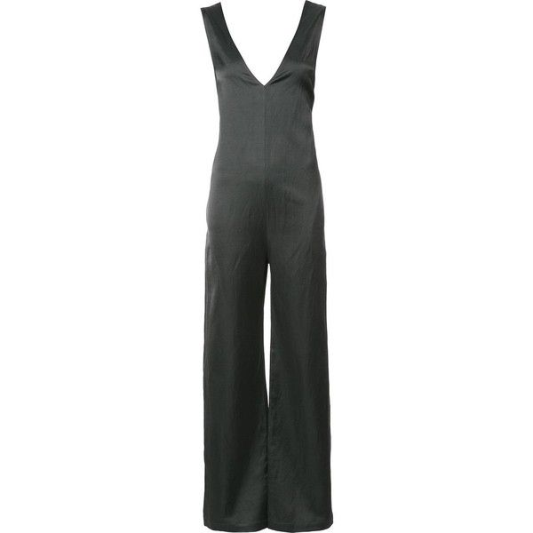 Nomia V neck jumpsuit ($475) ❤ liked on Polyvore featuring jumpsuits, black, jump suit, nomia and v neck jumpsuit