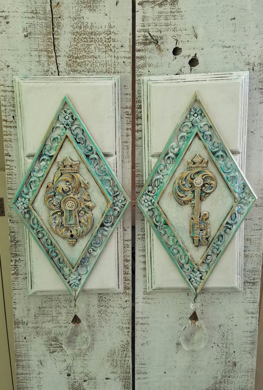 Pair Of Wall Plaque Wall Art Wall Decor Wall Hanging Blue White French Decor Distressed Hand Painted Home Decor Set Of 2 With Images Wall Art Decor Wall Plaques Wall Decor