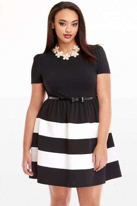 Plus Size Stripe Fit and Flare Dress | Fashion To Figure | My ...