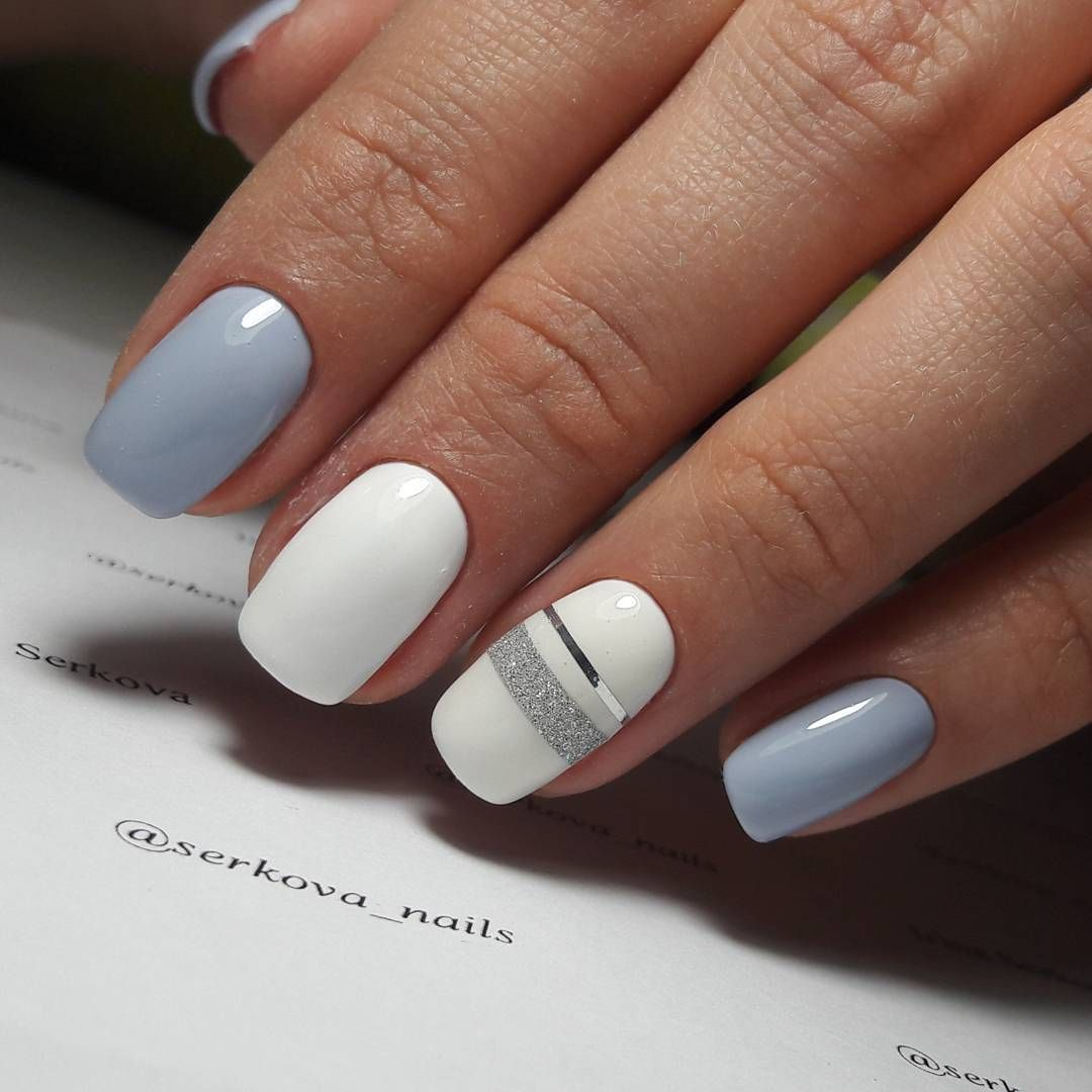 White and gray nails with 2 silver striped accent nail | Nails ...