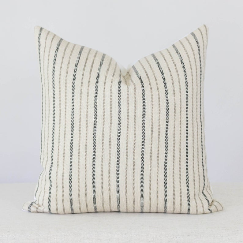 Neutral Stripe Pillow Pillows With Stripes Farmhouse Pillow Etsy In 2020 Neutral Pillow Covers Stripe Pillow Pillow Covers 24x24